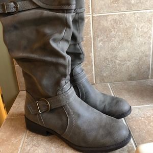 WHITE MOUNTAIN gray knee high buckle boots size 8